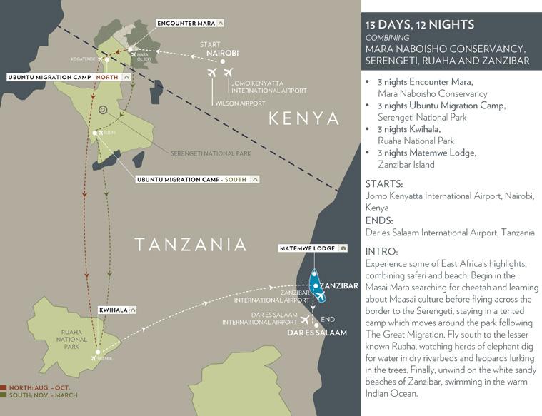 kenya tanzania  Luxury wildlife safari - Flying Map